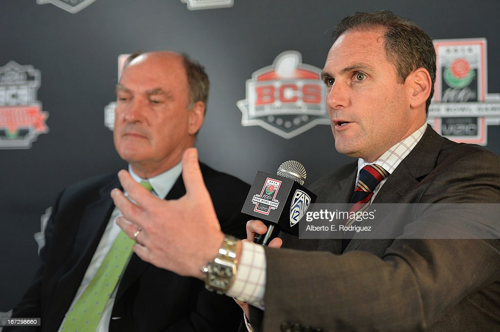 Jim Delany, Commissioner, Big Ten Conference and Larry Scott, Commissioner, Pac-12 Conference attend the 100th Rose Bowl Game press conference at Rose Bowl on April 23, 2013 in Pasadena, California.