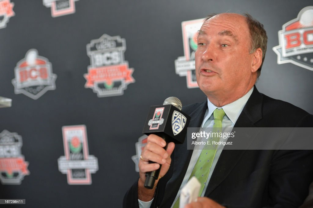 Jim Delany, Commissioner, Big Ten Conference attends the 100th Rose Bowl Game press conference at Rose Bowl on April 23, 2013 in Pasadena, California.