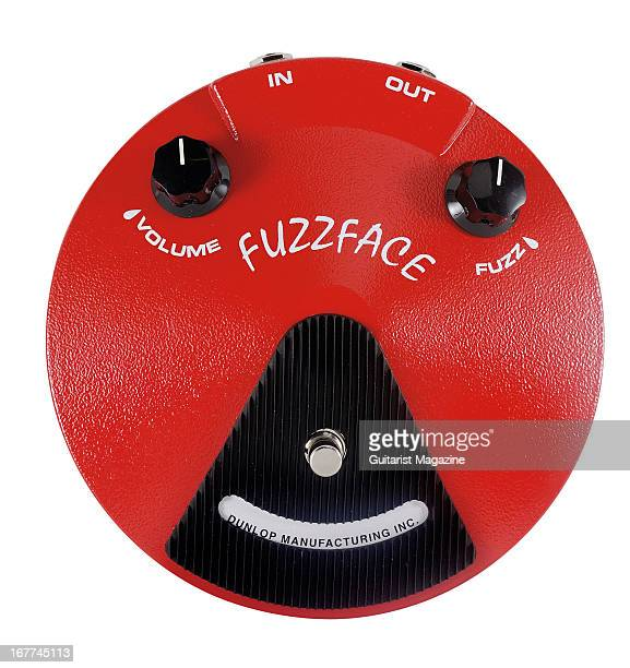 A Jim Dunlop Fuzz Face JDF2 Distortion electric guitar effects pedal photographed during a shoot for Guitarist Magazine September 12 2012
