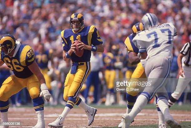 Jim Everett of the Los Angeles Rams circa 1987 drops back to pass against the Detroit Lions at Anaheim Stadium in Anaheim California