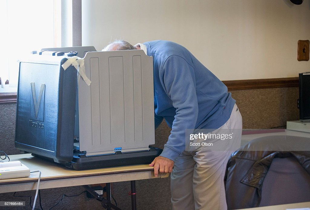 Jim Facklam votes at the Whiting Fire Department on May 3, 2016 in Whiting, Indiana. Indiana residents are voting today to decide Republican and Democrat presidential nominees.