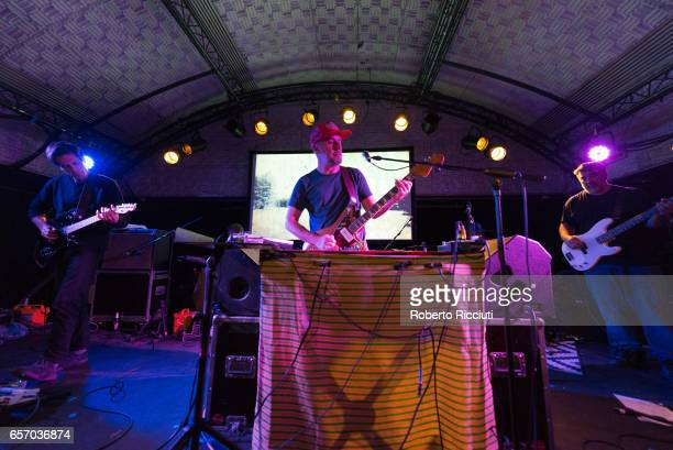 Jim Fairchild Jason Lytle and Kevin Garcia of Grandaddy perform on stage at Potterrow on March 23 2017 in Edinburgh United Kingdom