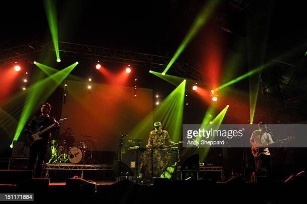 Jim Fairchild Jason Lytle and Kevin Garcia of the band Grandaddy perform on stage during End Of The Road Festival at Larmer Tree Gardens on September...