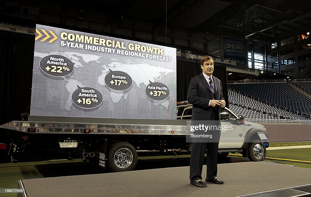 Jim Farley, group vice president of global marketing, sales and service for Ford Motor Co., speaks during an event at Ford Field in Detroit, Michigan, U.S., on Friday, Dec. 14, 2012. Ford Motor Co. is talking to the U.S. Environmental Protection Agency about how it tests fuel economy performance on new vehicles following reports that the automaker's hybrids are falling short of mileage promises. Photographer: Jeff Kowalsky/Bloomberg via Getty Images
