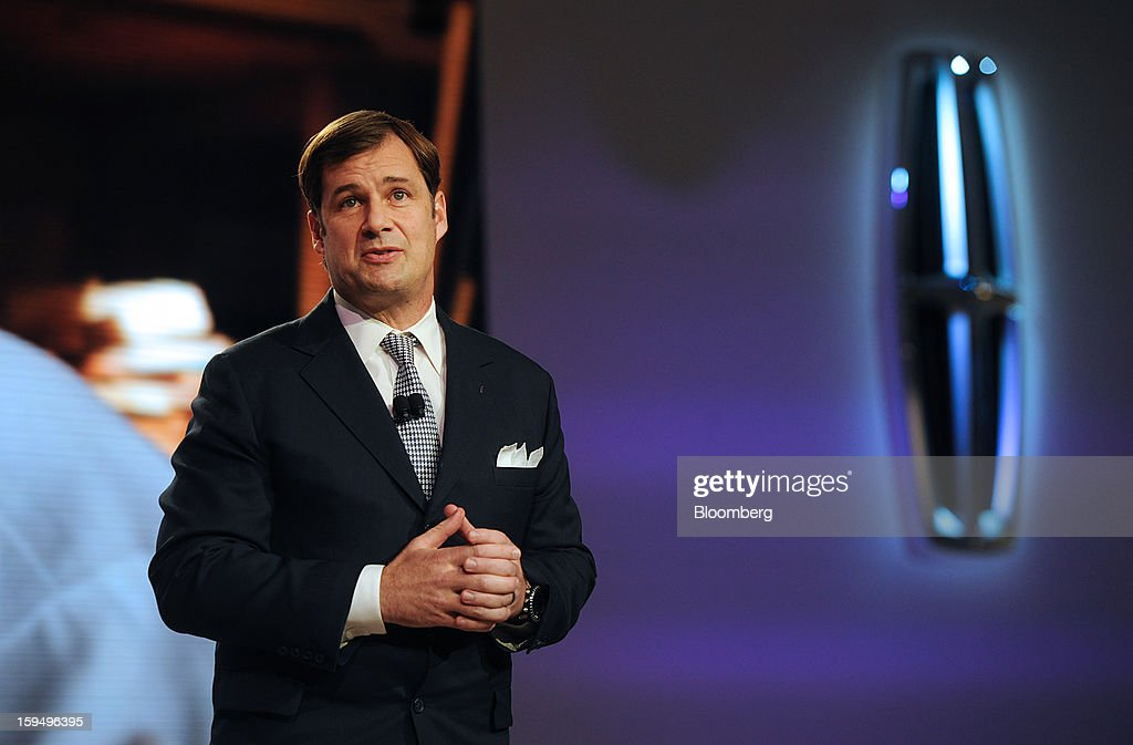 Jim Farley, group vice president of global marketing, sales and service for Ford Motor Co., speaks during the unveiling of the Lincoln MKC concept cross over vehicle at the 2013 North American International Auto Show (NAIAS) in Detroit, Michigan, U.S., on Monday, Jan. 14, 2013. Ford Motor Co. is considering modifying Lincoln models before they go on sale in China next year to meet the tastes of consumers there who often expect to be chauffeur-driven in their luxury cars. Photographer: Daniel Acker/Bloomberg via Getty Images
