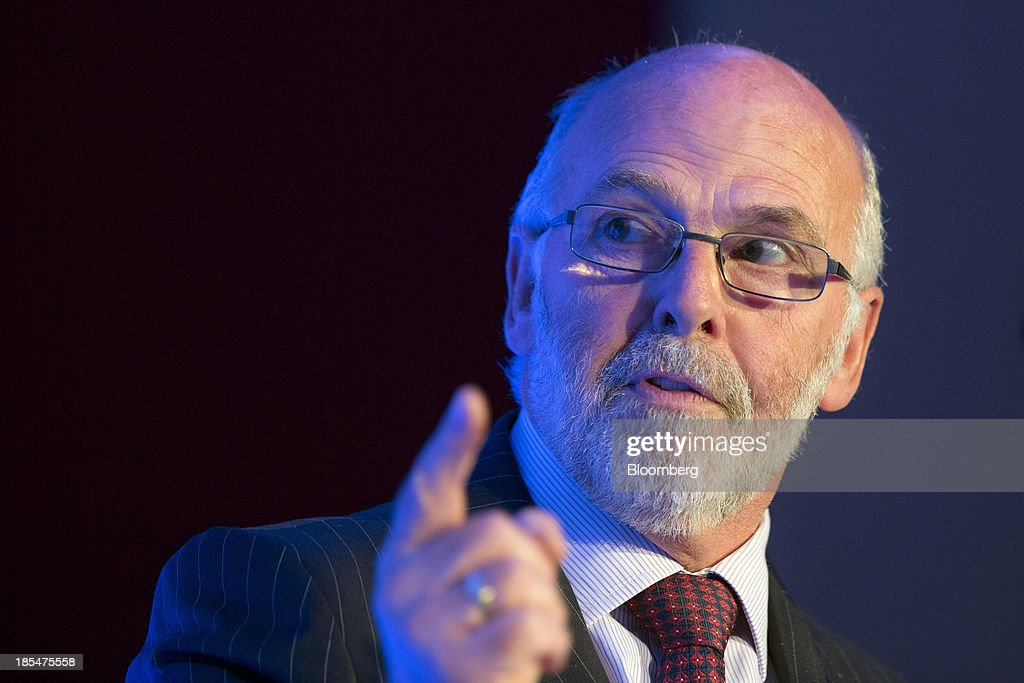 Jim French, non-executive chairman of Flybe Group Plc, Europe's largest independent regional airline, gestures as he speaks during the Airport Operators Association (AOA) annual conference in London, U.K., on Monday, Oct. 21, 2013. The AOA conference is being held ahead of the Airports Commission interim report setting out a shortlist of options for maintaining the UK's status as an international hub for aviation. Photographer: Jason Alden/Bloomberg via Getty Images