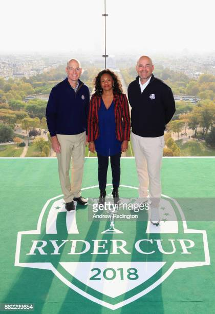 Jim Furyk Captain of The United States and Thomas Bjorn Captain of Europe pose with French Minister of Sports Laura FlesselColovic on a platform on...