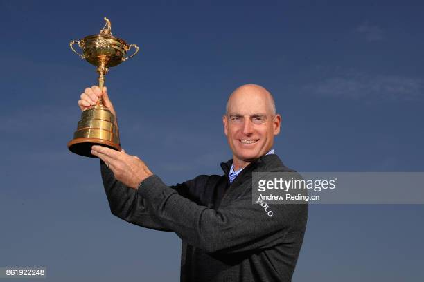 Jim Furyk Captain of The United States holds The Ryder Cup during the Ryder Cup 2018 Year to Go event at Le Golf National on October 16 2017 in Paris...