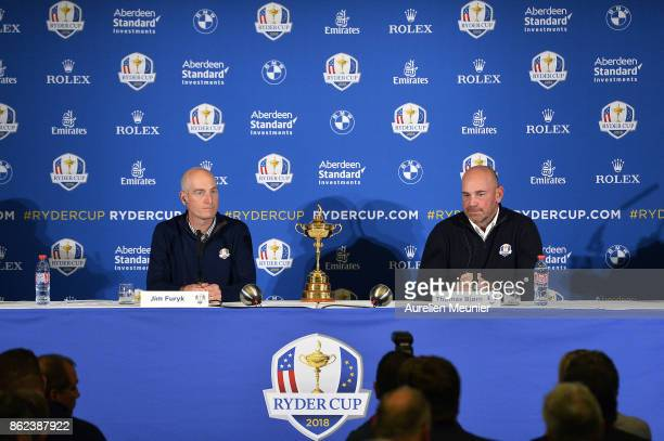 Jim Furyk Captain of The United States of America and Thomas Bjorn Captain of Europe speak during a Ryder Cup 2018 Year to Go Captains Press...