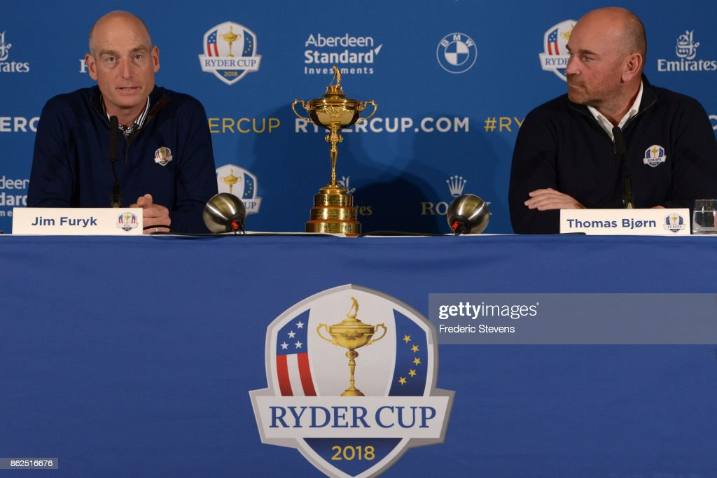 Jim Furyk (L), Captain of The United States of America and Thomas Bjorn (R), Captain of Europe speak during a Ryder Cup 2018 Year to Go Captains Press Conference at the Pullman Paris Tour Eiffel Hotel on October 17, 2017 in Paris, France.