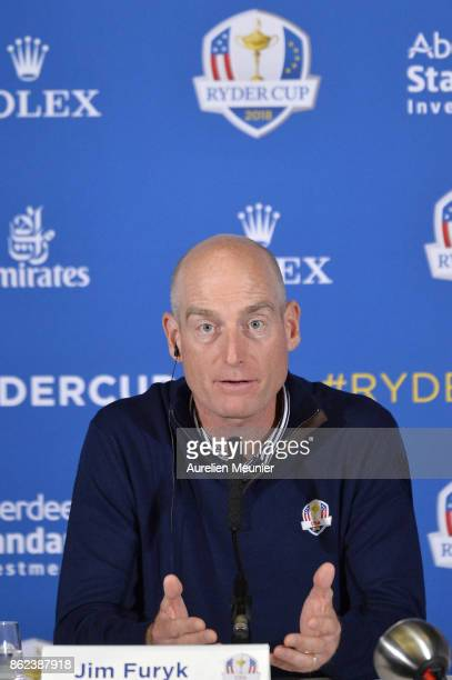 Jim Furyk Captain of The United States of America speaks during a Ryder Cup 2018 Year to Go Captains Press Conference at the Pullman Paris Tour...