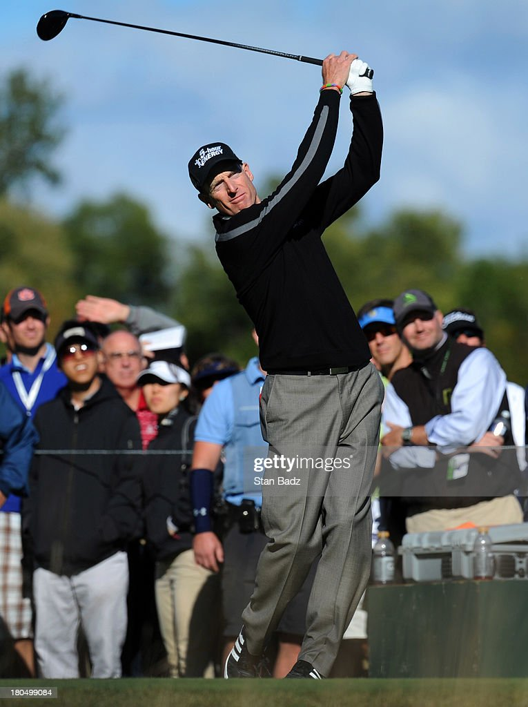 Jim Furyk hits a drive on the eighth hole during the second round of the BMW Championship at Conway Farms Golf Club on September 13, 2013 in Lake Forest, Illinois.