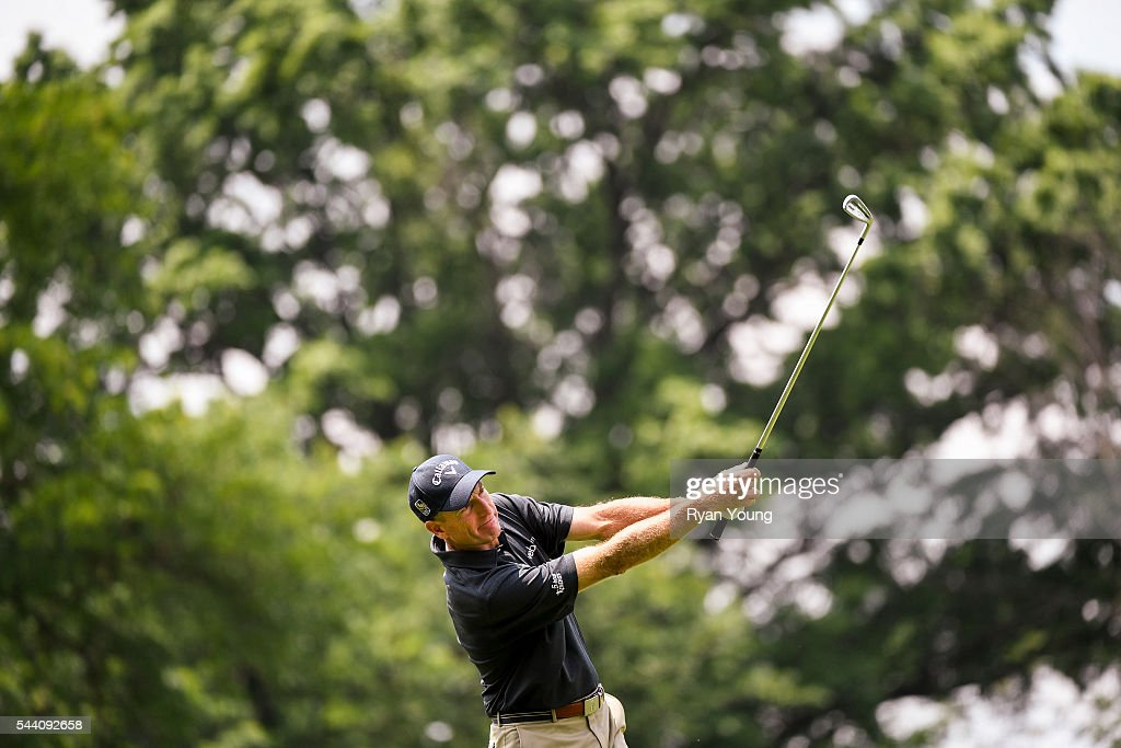 Jim Furyk hits an approach shot on the eighth hole during the second round of the World Golf Championships-Bridgestone Invitational at Firestone Country Club on July 1, 2016 in Akron, Ohio.