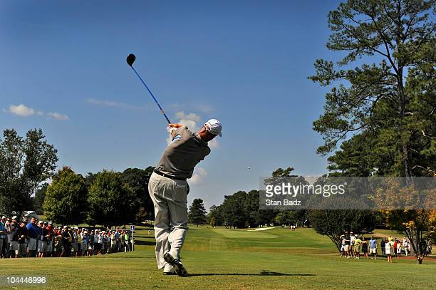 Jim Furyk hits from the second tee box during the third round of THE TOUR Championship presented by CocaCola the final event of the PGA TOUR Playoffs...
