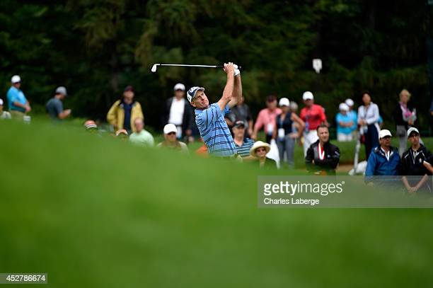 Jim Furyk hits his approach to the second green during the final round of the RBC Canadian Open at the Royal Montreal Golf Club on July 27 2014 in...