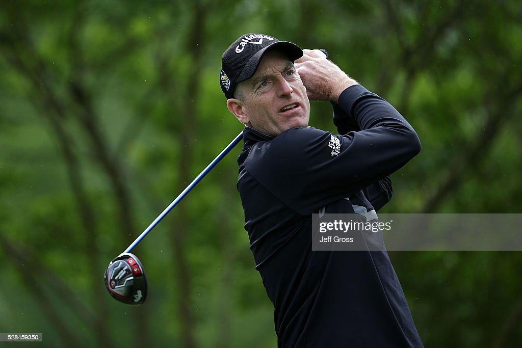 Jim Furyk hits his tee shot on the 11th hole during the first round of the Wells Fargo Championship at Quail Hollow Club on May 5, 2016 in Charlotte, North Carolina.