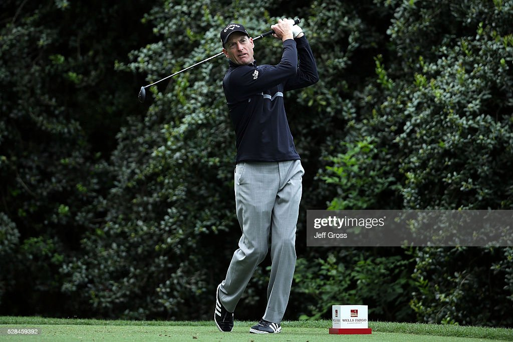 <a gi-track='captionPersonalityLinkClicked' href=/galleries/search?phrase=Jim+Furyk&family=editorial&specificpeople=202579 ng-click='$event.stopPropagation()'>Jim Furyk</a> hits his tee shot on the 14th hole during the first round of the Wells Fargo Championship at Quail Hollow Club on May 5, 2016 in Charlotte, North Carolina.