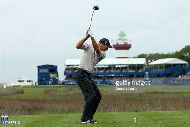 Jim Furyk hits his tee shot on the 18th hole during the final round of the RBC Heritage at Harbour Town Golf Links on April 19 2015 in Hilton Head...