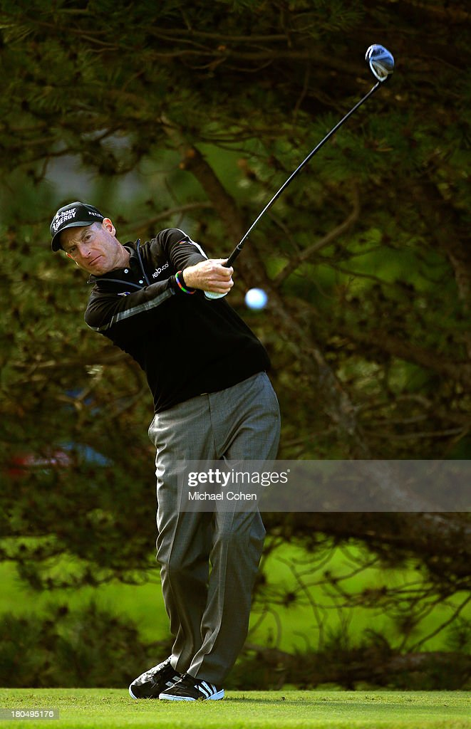 <a gi-track='captionPersonalityLinkClicked' href=/galleries/search?phrase=Jim+Furyk&family=editorial&specificpeople=202579 ng-click='$event.stopPropagation()'>Jim Furyk</a> hits off the fourth tee during the Second Round of the BMW Championship at Conway Farms Golf Club on September 13, 2013 in Lake Forest, Illinois.