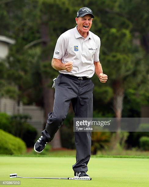 Jim Furyk makes a birdie putt on the second playoff hole to win the RBC Heritage at Harbour Town Golf Links on April 19 2015 in Hilton Head Island...