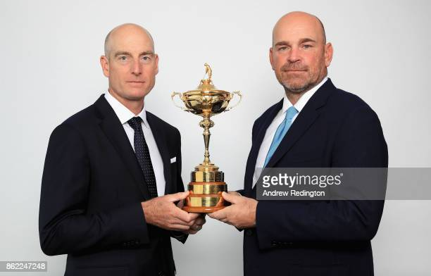 Jim Furyk of the United States Captain of Team America and Thomas Bjorn of Denmark Captain of Team Europe pose for a portrait with the Ryder Cup...