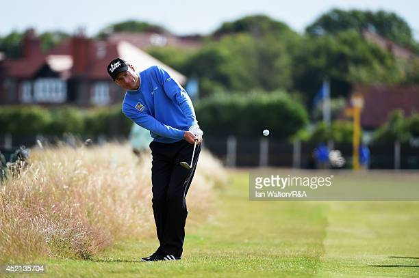 Jim Furyk of the United States chips to a green during a practice round prior to the start of the 143rd Open Championship at Royal Liverpool on July...
