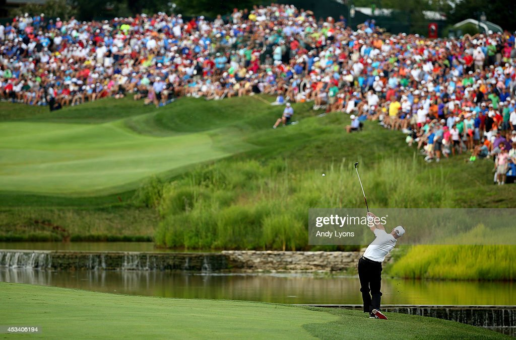 Jim Furyk of the United States hits his second shot on the 18th hole during the third round of the 96th PGA Championship at Valhalla Golf Club on...
