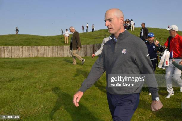 Jim Furyk of the United States of America Captain of the Ryder Cup 2018 reacts during the Captain's Challenge at Golf National on October 16 2017 in...