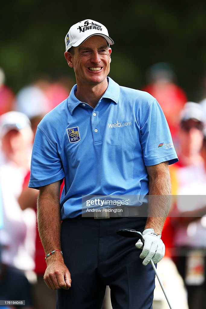 <a gi-track='captionPersonalityLinkClicked' href=/galleries/search?phrase=Jim+Furyk&family=editorial&specificpeople=202579 ng-click='$event.stopPropagation()'>Jim Furyk</a> of the United States reacts ot his tee shot on the 11th hole during the final round of the 95th PGA Championship at Oak Hill Country Club on August 11, 2013 in Rochester, New York.