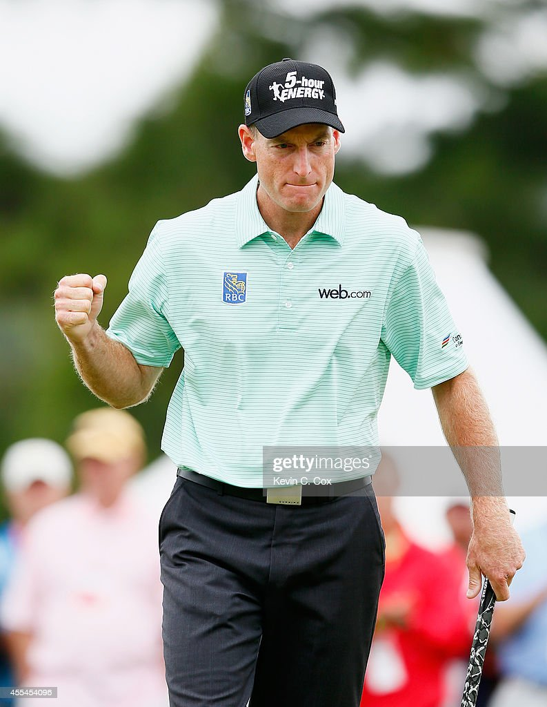 <a gi-track='captionPersonalityLinkClicked' href=/galleries/search?phrase=Jim+Furyk&family=editorial&specificpeople=202579 ng-click='$event.stopPropagation()'>Jim Furyk</a> of the United States saves par on the 12th green during the final round of the TOUR Championship by Coca-Cola at the East Lake Golf Club on September 14, 2014 in Atlanta, Georgia.