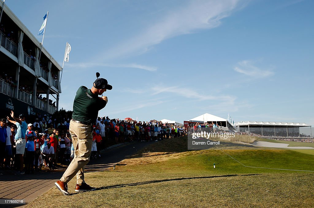 Jim Furyk of the United States watches his second shot on the 18th hole during the final round of The Barclays at Liberty National Golf Club on August 25, 2013 in Jersey City, New Jersey.
