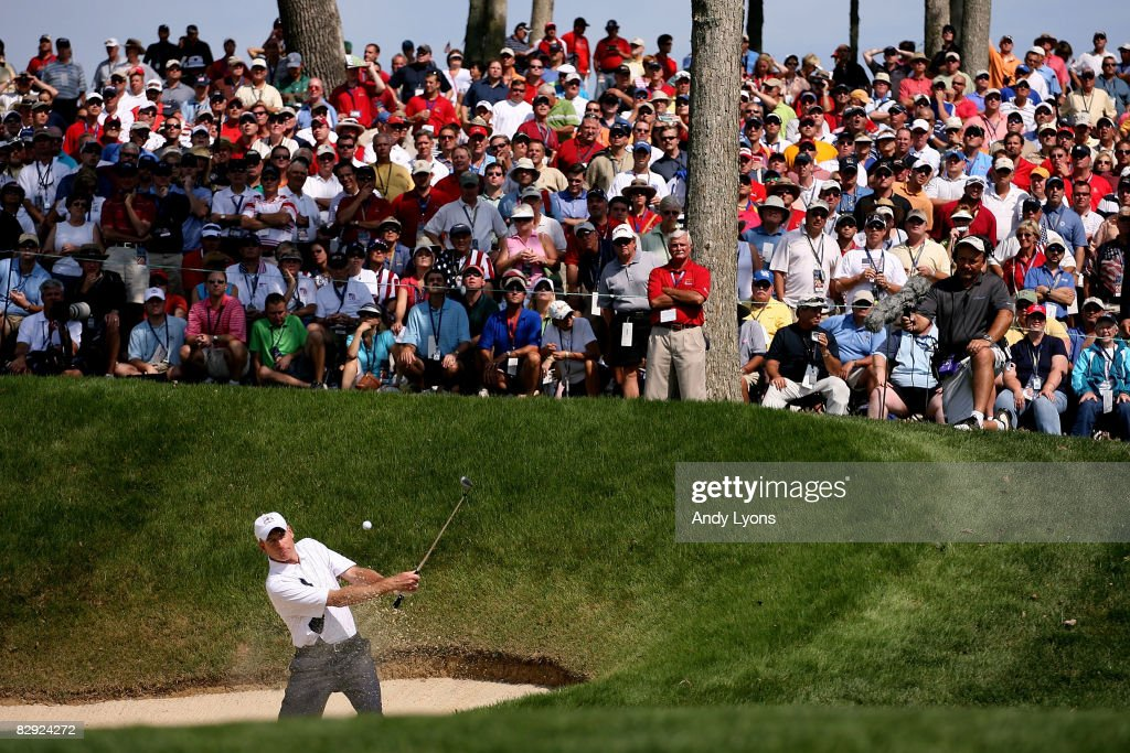 Jim Furyk of the USA team hits a shot from a bunker during day one of the 2008 Ryder Cup at Valhalla Golf Club on September 19, 2008 in Louisville, Kentucky.