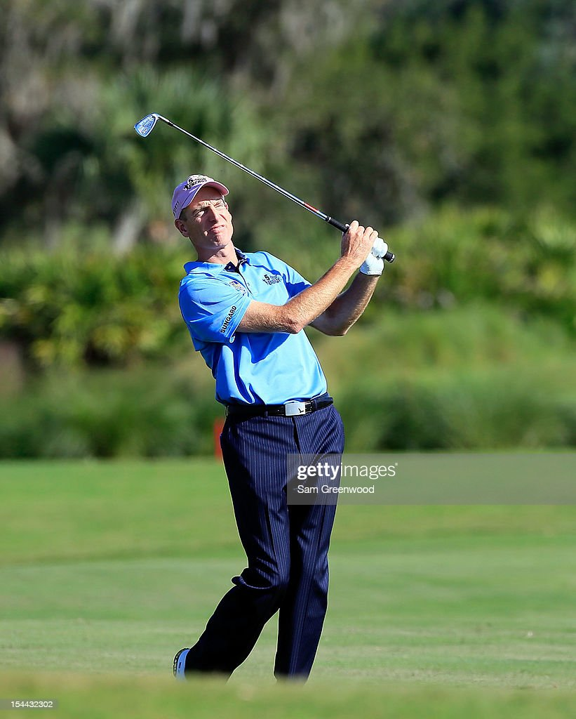 <a gi-track='captionPersonalityLinkClicked' href=/galleries/search?phrase=Jim+Furyk&family=editorial&specificpeople=202579 ng-click='$event.stopPropagation()'>Jim Furyk</a> plays a shot on the 13th hole during the second round of The McGladrey Classic at Sea Island's Seaside Course on October 19, 2012 in Sea Island, Georgia.
