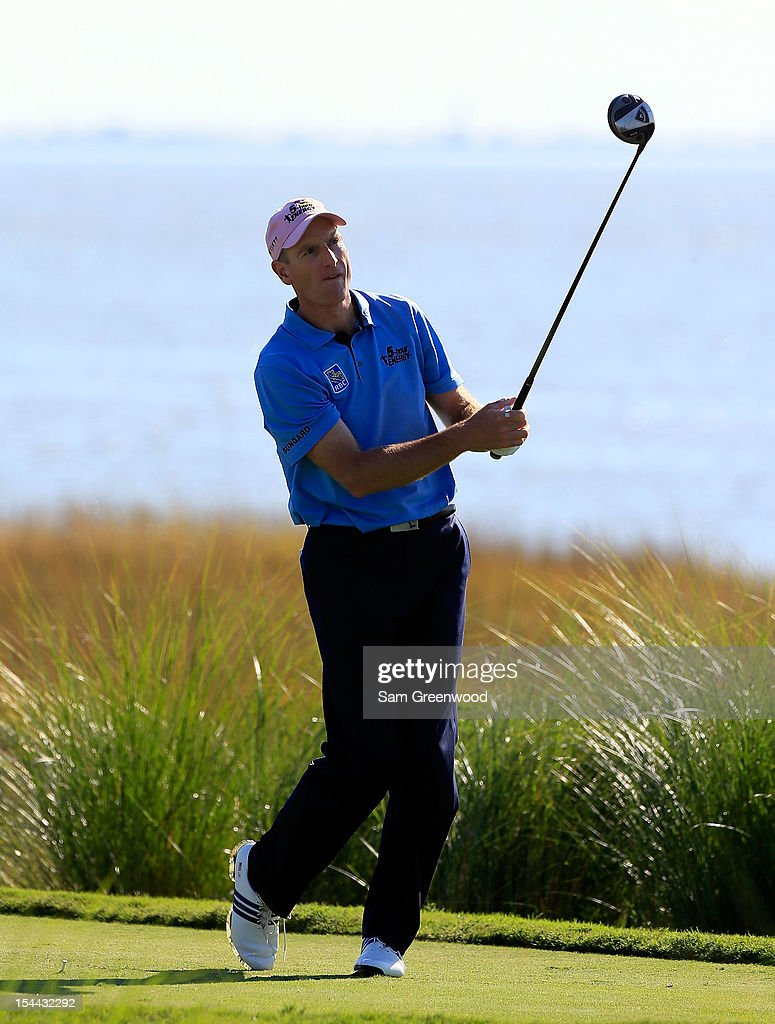 <a gi-track='captionPersonalityLinkClicked' href=/galleries/search?phrase=Jim+Furyk&family=editorial&specificpeople=202579 ng-click='$event.stopPropagation()'>Jim Furyk</a> plays a shot on the 14th hole during the second round of The McGladrey Classic at Sea Island's Seaside Course on October 19, 2012 in Sea Island, Georgia.