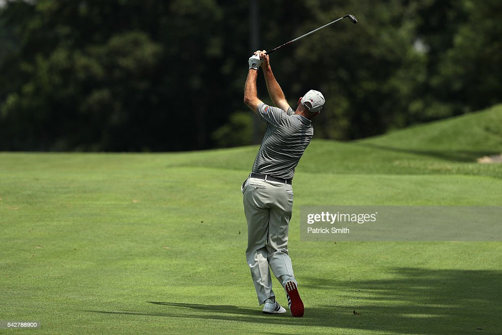 <a gi-track='captionPersonalityLinkClicked' href=/galleries/search?phrase=Jim+Furyk&family=editorial&specificpeople=202579 ng-click='$event.stopPropagation()'>Jim Furyk</a> plays a shot on the ninth hole during the second round of the Quicken Loans National at Congressional Country Club on June 24, 2016 in Bethesda, Maryland.