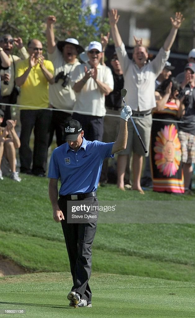 <a gi-track='captionPersonalityLinkClicked' href=/galleries/search?phrase=Jim+Furyk&family=editorial&specificpeople=202579 ng-click='$event.stopPropagation()'>Jim Furyk</a> reacts after hitting an eagle from the 18th fairway during the final round of the Valero Texas Open at the AT&T Oaks Course at TPC San Antonio on April 7, 2013 in San Antonio, Texas.