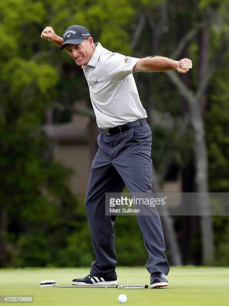 Jim Furyk reacts after making a birdie putt on the second playoff hole against Kevin Kisner to win the RBC Heritage at Harbour Town Golf Links on...