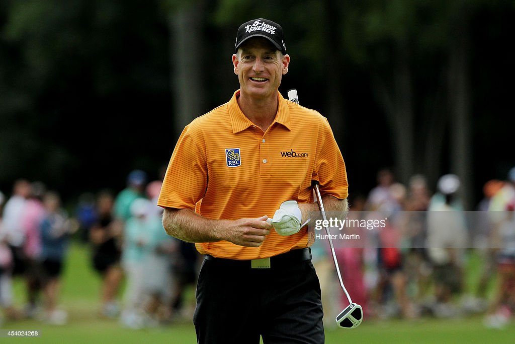 <a gi-track='captionPersonalityLinkClicked' href=/galleries/search?phrase=Jim+Furyk&family=editorial&specificpeople=202579 ng-click='$event.stopPropagation()'>Jim Furyk</a> reacts on the 18th green during the third round of The Barclays at The Ridgewood Country Club on August 23, 2014 in Paramus, New Jersey.