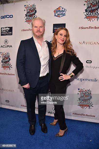 Jim Gaffigan and Jeannie Noth attend Comedy Central Night Of Too Many Stars at Beacon Theatre on February 28 2015 in New York City