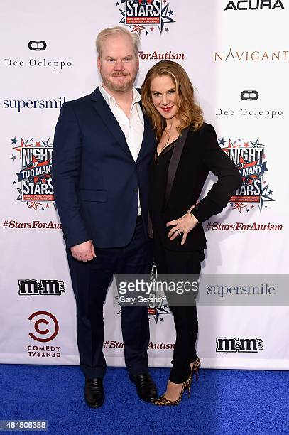 Jim Gaffigan and Jeannie Noth attend the 2015 Comedy Central's 'Night of Too Many Stars America Comes Together For Autism Programs' on February 28...