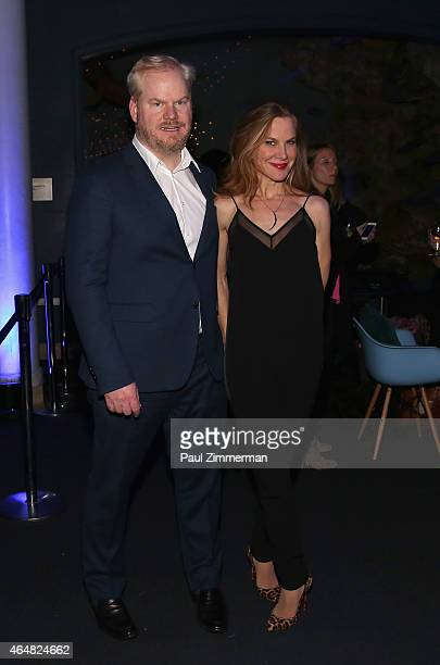 Jim Gaffigan and Jeannie Noth attend the Comedy Central Night Of Too Many Stars after party at the American Museum of Natural History on February 28...