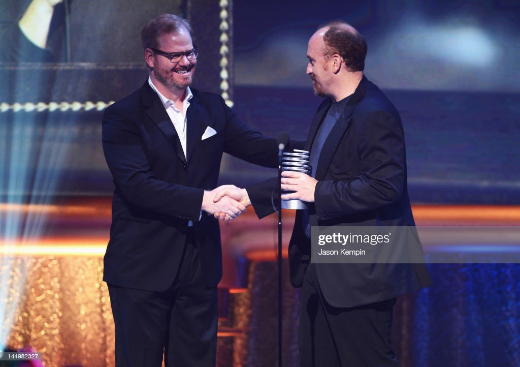 Jim Gaffigan and Louis CK speak at the 16th Annual Webby Awards on May 21, 2012 in New York City.