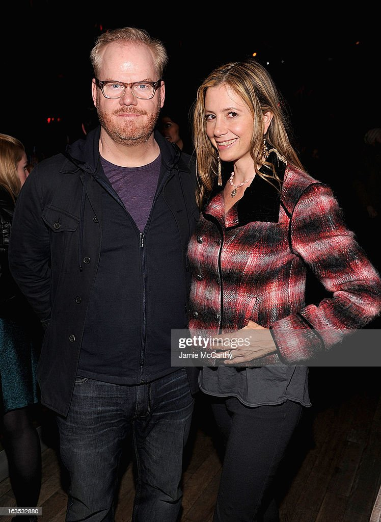 Jim Gaffigan and Mira Sorvino attend the after party for The Cinema Society with Roger Dubuis and Grey Goose screening of FilmDistrict's 'Olympus Has Fallen' at The Darby on March 11, 2013 in New York City.