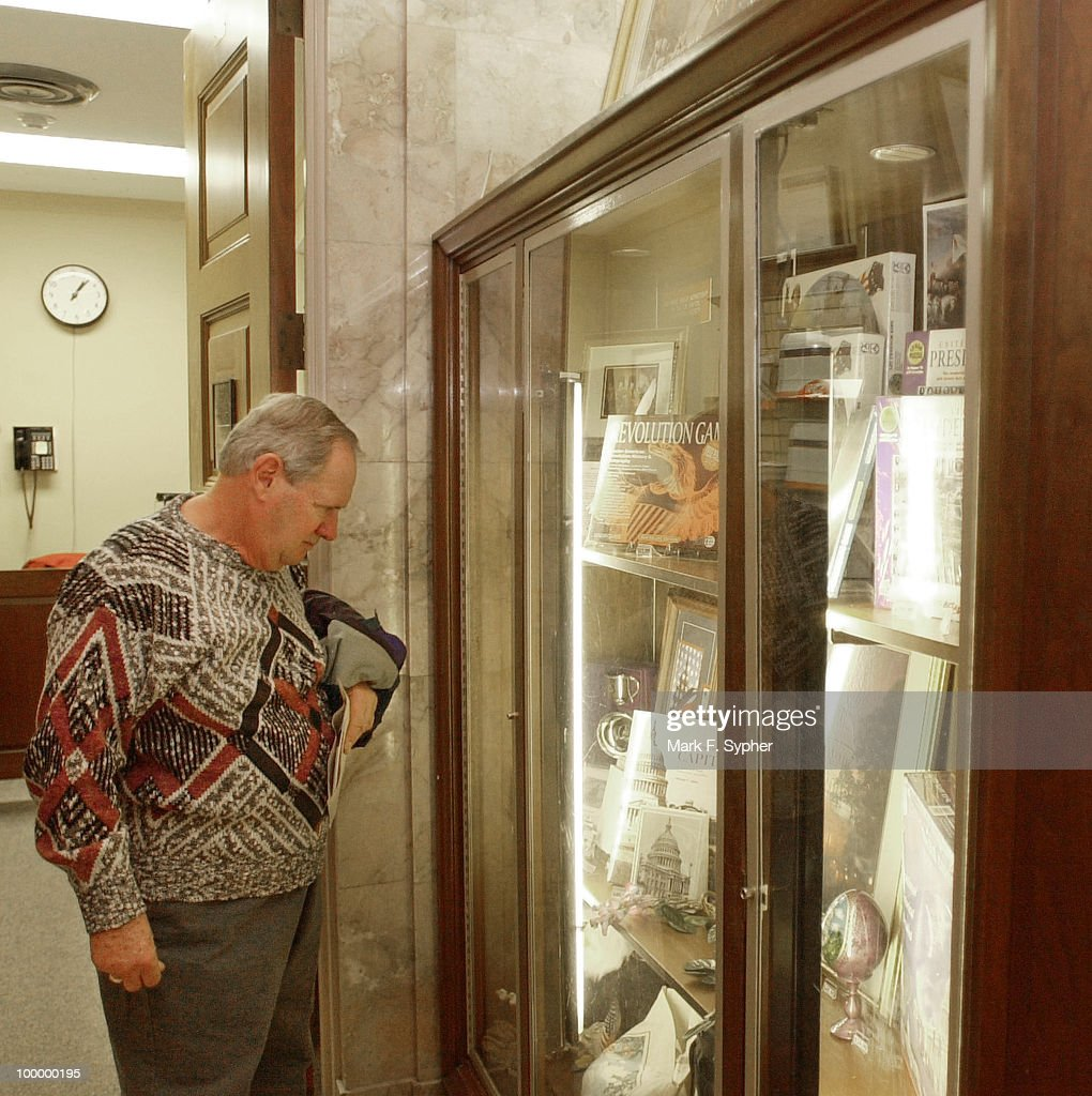 Jim Gallagher, a retired government photographer visiting from Thousand Oaks, Calif. eyes some of the nicer artifacts that the U.S. Capitol gift shop has to offer.