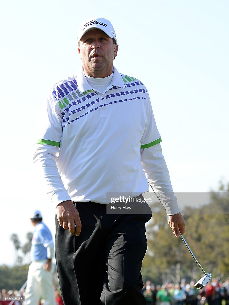Jim Gallagher Jr. reacts after his round ending putt during the final round of the Toshiba Classic at the Newport Beach Country Club on March 17, 2013 in Newport Beach, California.