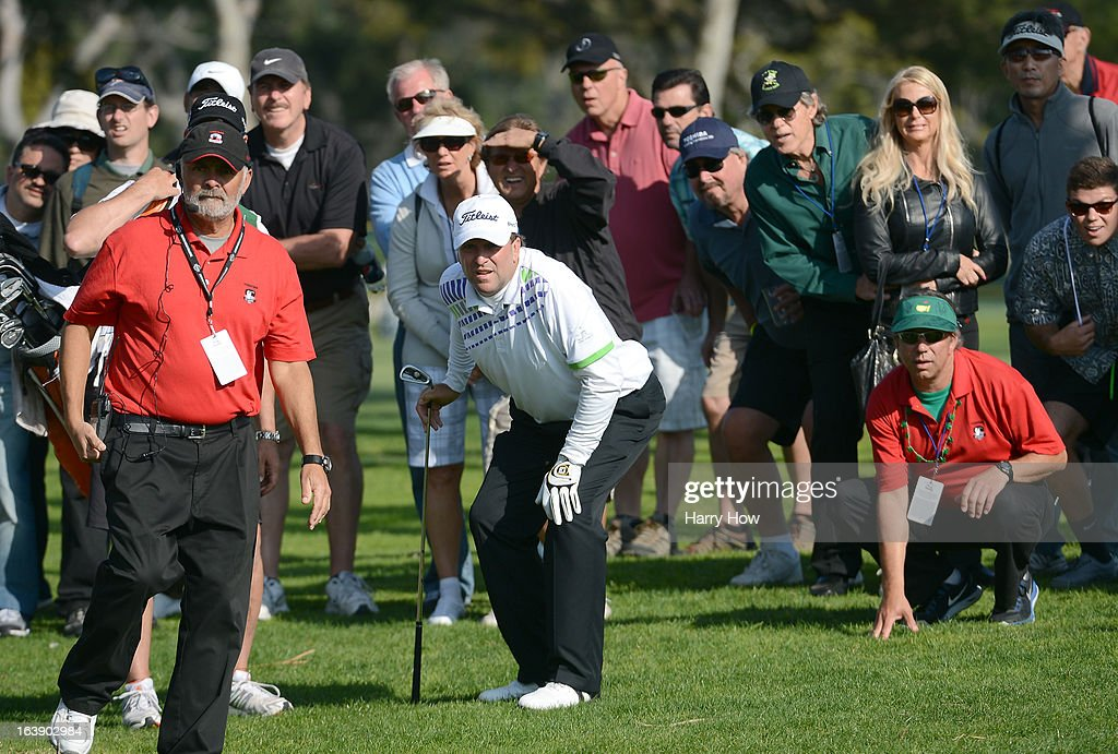 Jim Gallagher Jr. reacts to his shot from the rough on the 16th hole during the final round of the Toshiba Classic at the Newport Beach Country Club on March 17, 2013 in Newport Beach, California.