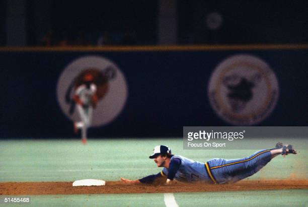 Jim Gantner of the Milwaukee Brewer dives head first into second during the World Series against the St Louis Cardinals at Busch Stadium on October...