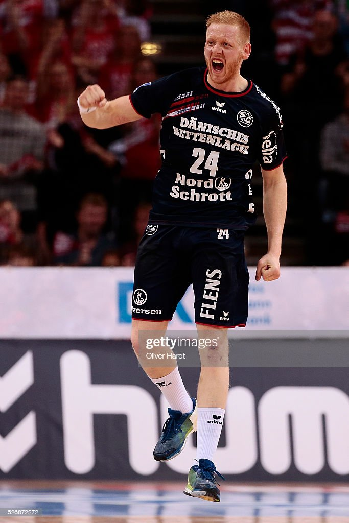 Jim Gottfridsson of Flensburg during the DKB REWE Final Four Finale 2016 between SG Flensburg Handewitt and SC Magdeburg at Barclaycard Arena on May 1, 2016 in Hamburg, Germany.