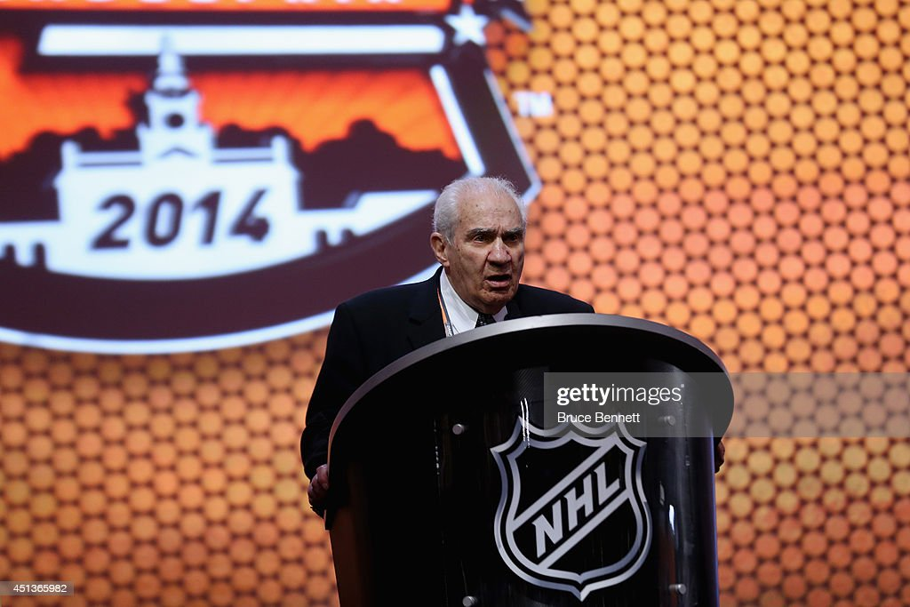 Jim Gregory, league executive and former general manager of the National Hockey League, speaks during the first round of the 2014 NHL Draft at the Wells Fargo Center on June 27, 2014 in Philadelphia, Pennsylvania.