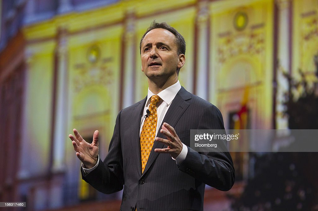 Jim Hagemann Snabe, co-chief executive officer of SAP AG, gestures while making a keynote speech on the opening day of the Sapphire Now conference in Madrid, Spain, on Tuesday, Nov. 13, 2012. SAP plans to deliver 6 SAP mobile apps for Windows 8. Photographer: Angel Navarrete/Bloomberg via Getty Images
